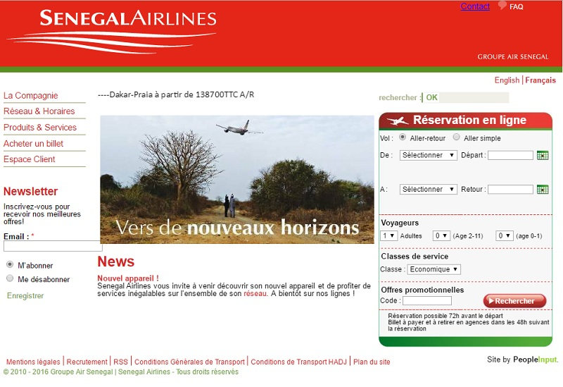 Capture d'écran Sénégal Airlines