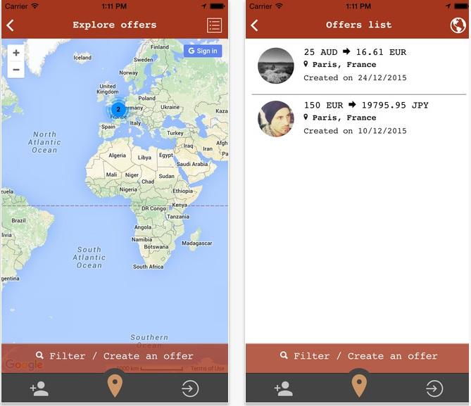 Capture d'écran de l'application Nomadies