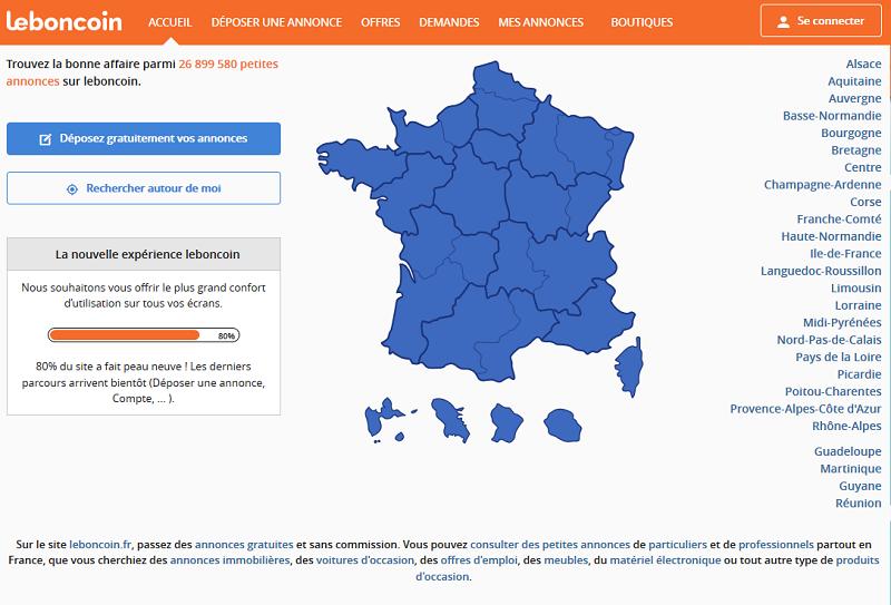 LeBoncoin compte 22 millions d'utilisateurs. Il est le 3ème site de France en nombre de pages vues avec 9 milliards de pages vues par mois - Capture écran