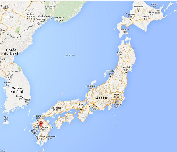 Un séisme de magnitude 6,5 a frappé le sud ouest du Japon - Google Map