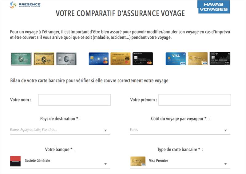 La plateforme permet de comparer les différentes cartes bancaires (c) capture d'écran Présence Assistance