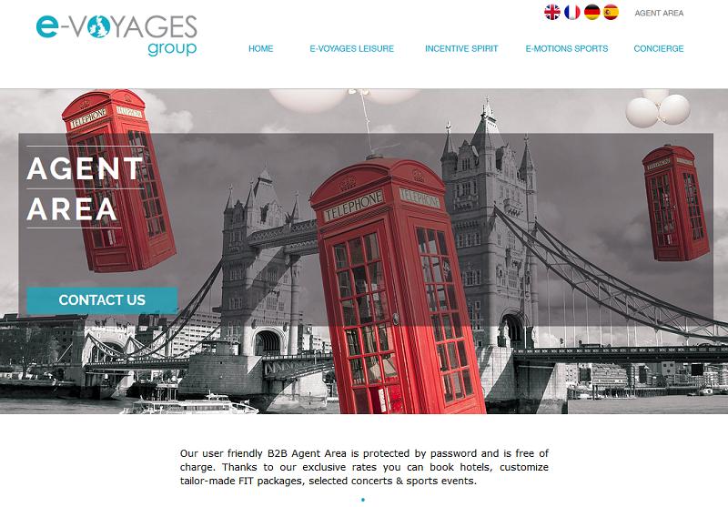 Le nouveau site d'E-voyages Group - Capture écran
