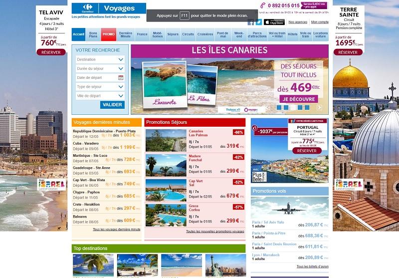 Ca bouge du côté de Carrefour Voyages... - DR : Capture d'écran Carrefour Voyages