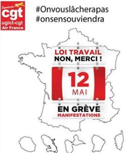 La CGT Air France appelle à la grève le 12 mai 2016