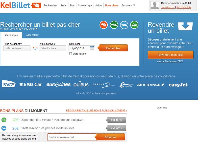 KelBillet compare les horaires et les prix de tous les modes de transport : autocar, train, covoiturage, avion - Capture écran