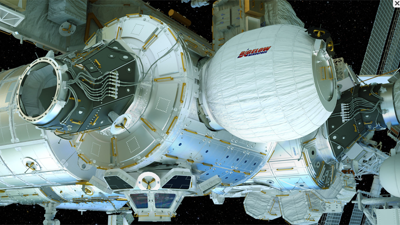 Le module BEAM (Bigelow Expandable Activity Module) développé par Bigelow Aerospace en partenariat avec la NASA préfigure les hôtels spatiaux, dont rêve depuis 1999 Robert Bigelow  le magnat américain de l'immobilier et de l'hôtellerie, (Hôtels Budget Inn/Budget Suite of America) - Photo bigelowaerospace