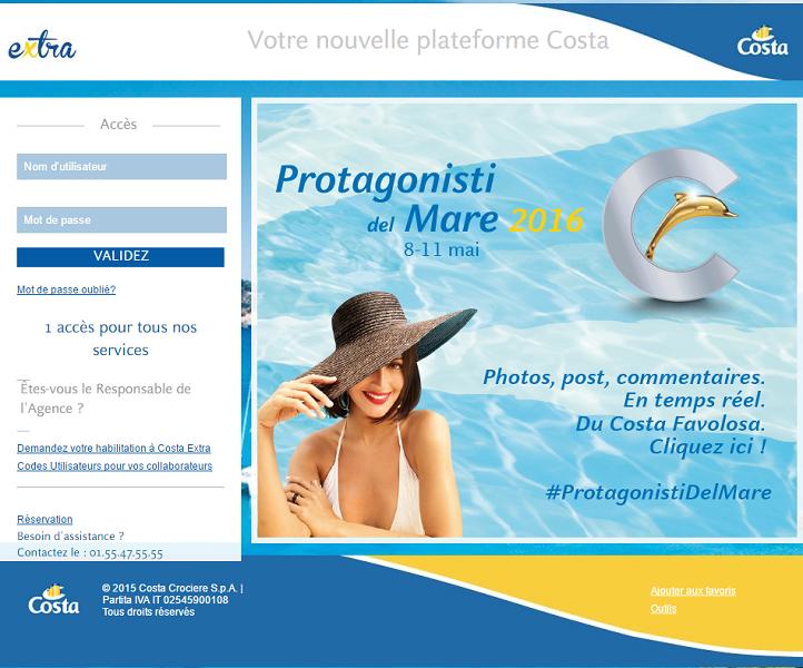 Costa Croisières ajoute des nouveautés à son site BtoB CostaExtra - Capture d'écran