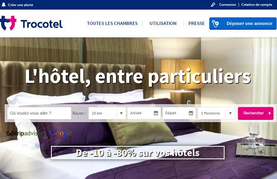 Trocotel.com est une plateforme en ligne sur laquelle les particuliers peuvent revendre leurs réservations hôtelières - Capture d'écran