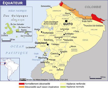 Equateur : la carte concernant la sécurité publiée par le Quai d'Orsay