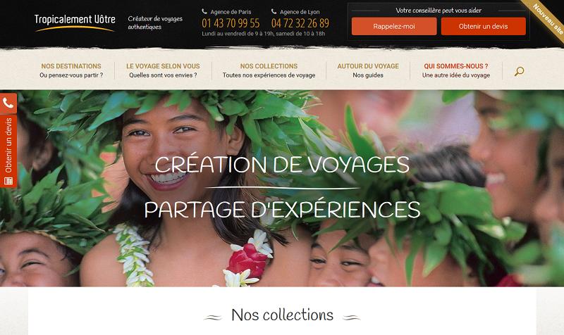Le nouveau site de Tropicalement Vôtre - Photo DR Capture écran
