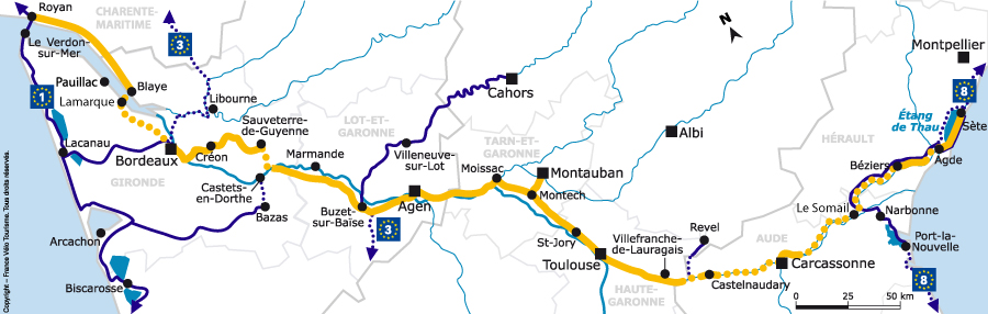 map of canal des 2 mers by bike