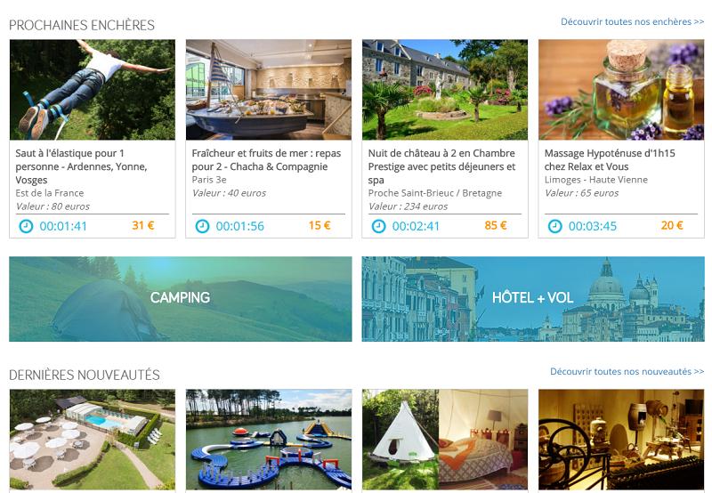 Le site Loisirs Enchères vise aujourd'hui le top10 des sites de vacances en France (c) capture du site