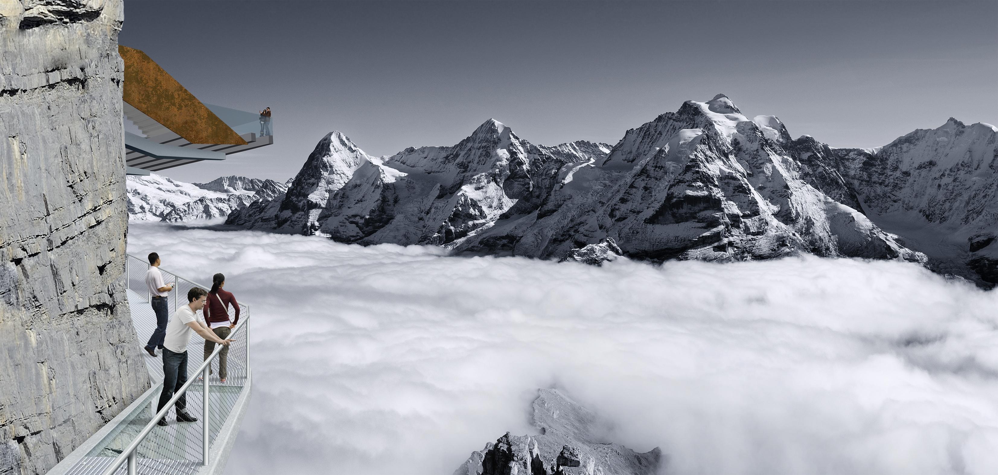 Après le Skyline Walk, un nouveau booster d'adrénaline, le Thrill Walk dans la région de la Jungfrau. Il longera la paroi verticale du massif rocheux. Ouverture juillet 2016. Crédit Switzerland Tourism.