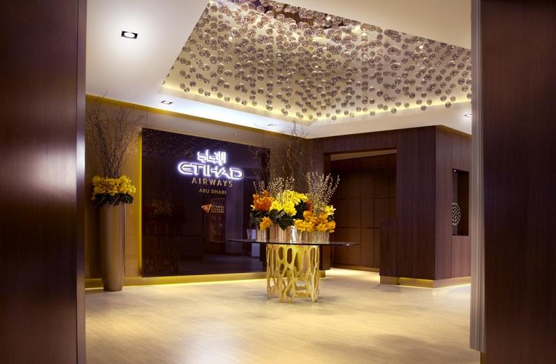 L'entrée du nouveau salon développé par Etihad Airways pour ses clients de Première Classe - Photo Etihad DR
