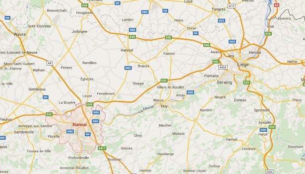 La collision s'est produite entre Namur et Liège - DR : Google Maps