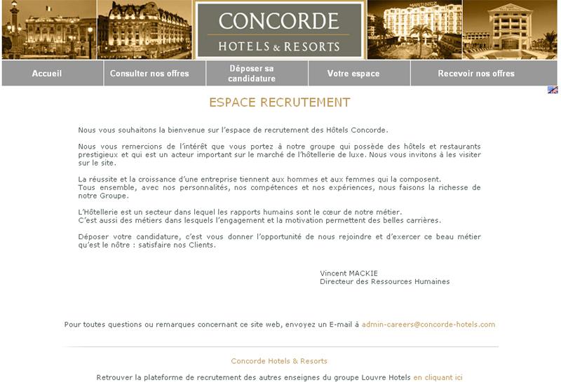 concorde hotels   nouvel espace de recrutement en ligne