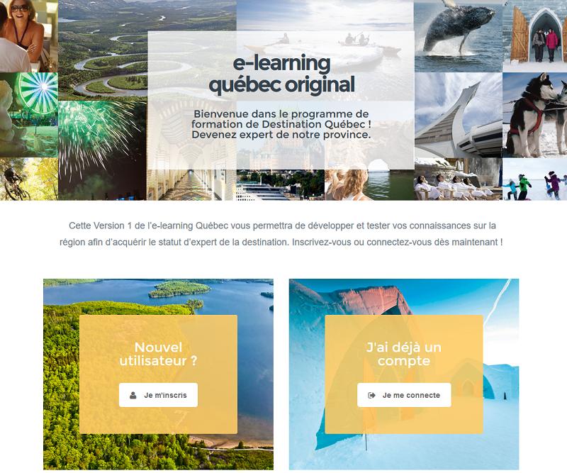 L'elearning lancé par Destination Québec à l'attention des professionnels du tourisme - Capture écran