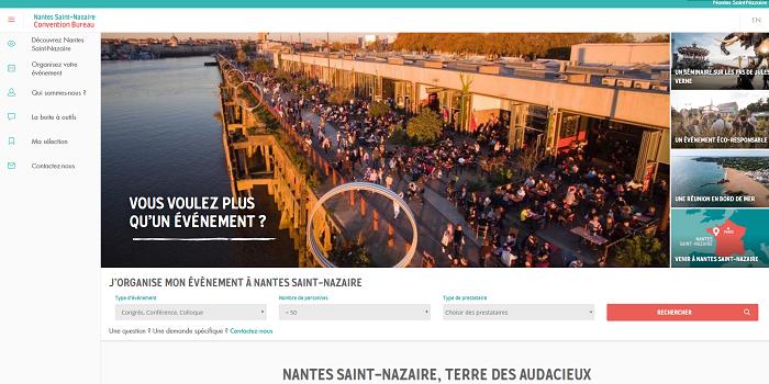 Le nouveau site Internet du Convention bureau Nantes Saint-Nazaire permet aux organisateurs de découvrir l'offre de plus de 70 prestataires du territoire - Capture d'écran