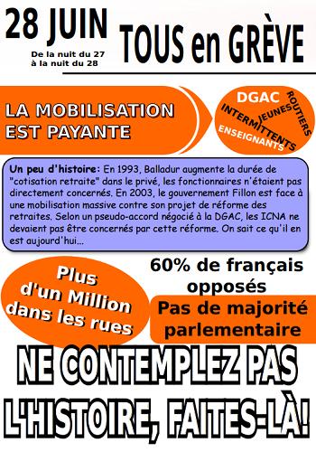 Le tract de l'USAC-CGT pour la grève du 28 juin 2016 - DR : USAC-CGT