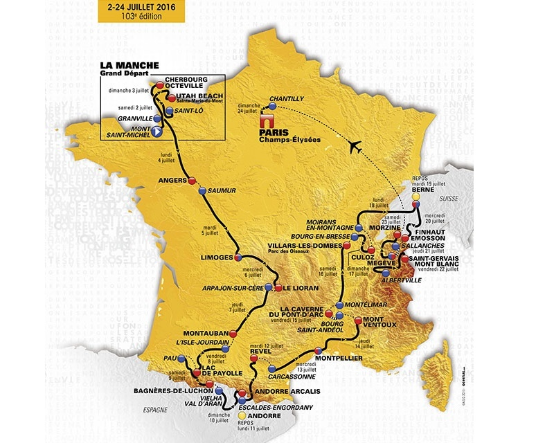 Voilà maintenant que le vélo va faire partie des appâts touristiques. Eh, oui, amis bicycleteux, le Tour de France commence ce week-end, au départ du Mont Saint Michel - DR : Tour de France