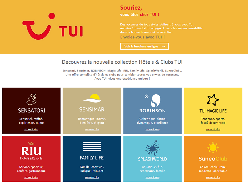A partir de septembre 2016, Tui.fr sera le seul site marchand du groupe - Capture d'écran
