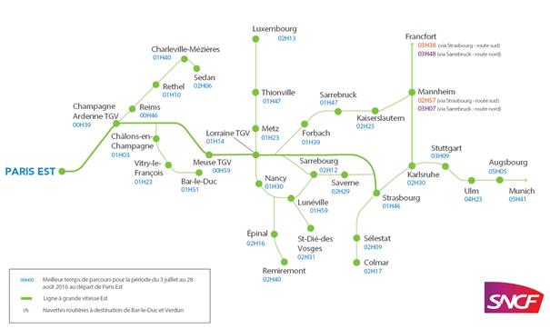 Carte des dessertes « TGV L'Européenne » et nouveaux temps de parcours