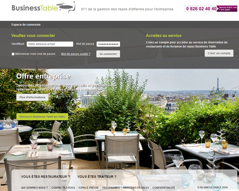 Repas d 39 affaires ticket travel pro propose les services - Les services a table ...