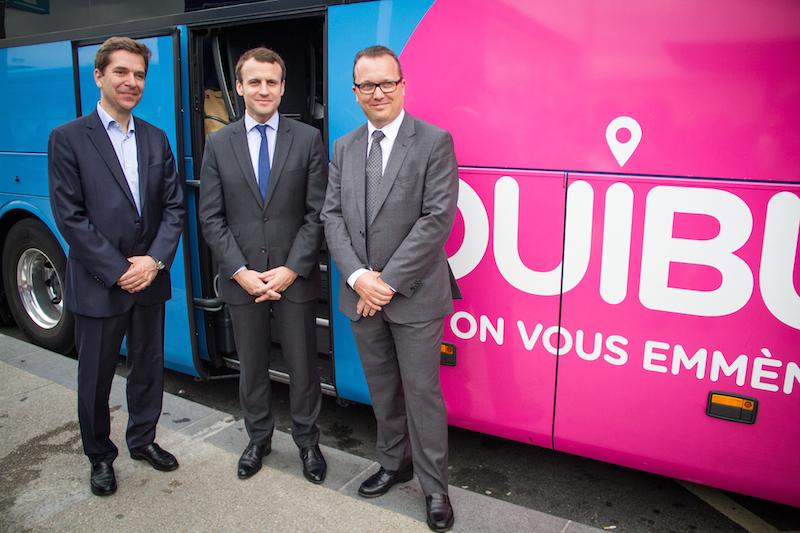 Emmanuel Macron venu échanger avec les passagers qui voyagent à bord de OuiBus - DR : Ouibus