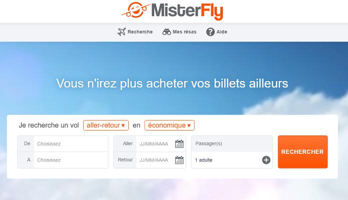 MisterFly compte optimiser le processus de réservation pour les agences de voyages qui utilisent son site professionnel - Capture d'écran