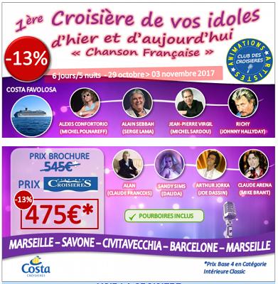 La liste des sosies de chanteurs qui seront présents à bord du Costa Favolosa - DR : Club des Croisières
