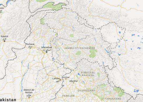 Le Cachemire est une région située entre l'Inde et le Pakistan - DR : Google Maps