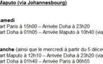 Mozambique : Qatar Airways assure 3 roations par semaine vers Maputo