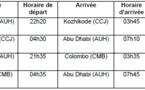 Etihad Airways passe en quotidien sur ses vols vers Kozhikode et Colombo en janvier 2013