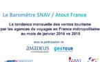 Baromètre SNAV/Atout France : réservations en hausse de 1,2 % en janvier 2016