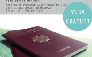 Myanmar : le visa est gratuit pour les enfants de moins de 7 ans