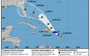 La tempête Dorian se dirige vers Porto Rico, la Rep Dom puis la Floride