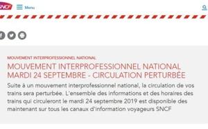 Grève SNCF : trafic perturbé sur l'ensemble du réseau national mardi 24 septembre 2019