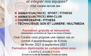 Club Coralia recrute 60 contrats d'apprentissage