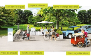 L'écostation se compose d'un espace de détente, de bornes de recharge accélérée pour véhicule électrique, de rangements pour le matériel et d'une borne d'informations sur le parcours - DR : La Bulle Verte
