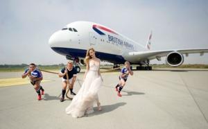 British Airways : une mannequin et 3 rugbymen pour promouvoir le Londres-Johannesburg en A380