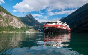 Doté d'une propulsion hybride, le MS Fridtjof Nansen est le dernier-né de la flotte de Hurtigruten Expeditions.  - DR