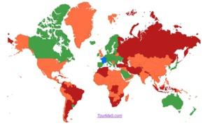 Carte pays : les Etats-Unis et Israël passent du vert au orange