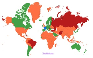Liste pays : Singapour en orange et Monténégro en rouge