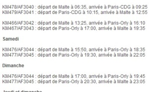 Air France : 18 vols par semaine vers Malte à compter du 30 mars 2014