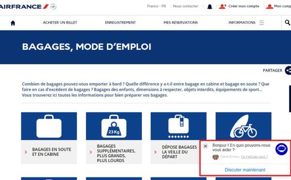 Air France lance un chatbot pour l'assistance bagage