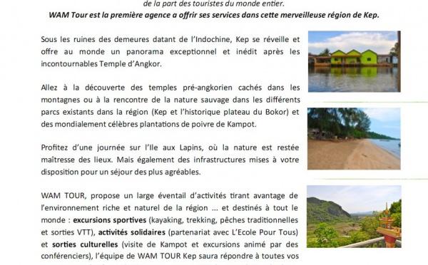 OUVERTURE D'UNE NOUVELLE AGENCE WAM TOUR à KEP (Cambodge)