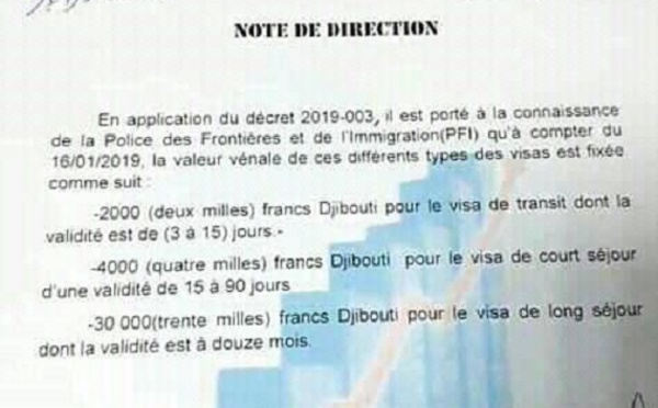 Djibouti: Baisse des frais de visas