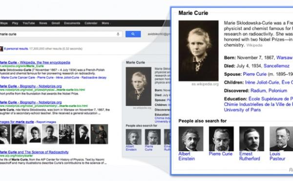 Le « graphe du savoir », pour chercher mieux et plus vite sur Google
