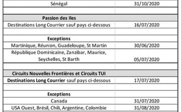 TUI France annonce le report des voyages individuels jusqu'au 30 juin 2020