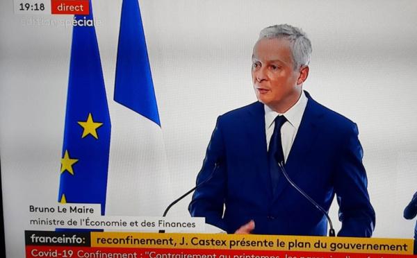 """Bruno Le Maire : """"Le soutien économique de l'Etat encore plus fort que lors du 1er confinement !"""""""